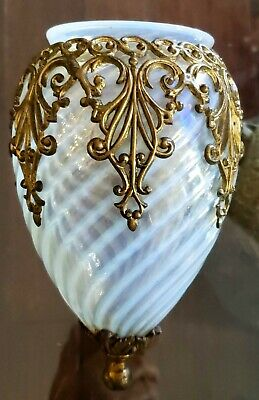 Antique Hand Blown Swirl Opalescent Wall Sconce Shade W/ Gilded Ormalu Tiffany?
