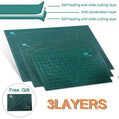 A1 A2 A3 Cutting Mats PVC 3 Layers Self Healing Boards 2-Side Grid Non-slip Pads