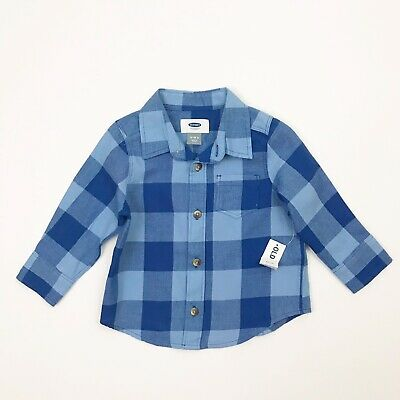 OLD NAVY Boys Size 12-18m Blue Checkered Long Sleeved Buttoned Shirt NWT