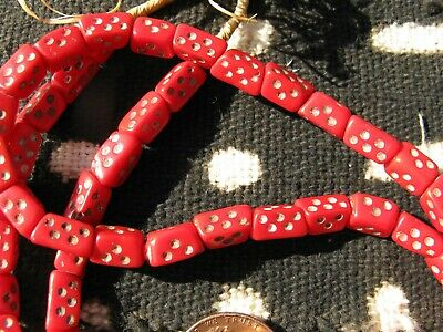 Vintage Bohemian Pressed Glass Opaque Red Dice Trade Beads Strand