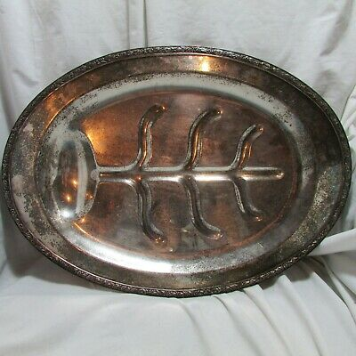 Vintage Large Footed Silverplate Oval Serving Tray, Turkey Meat Platter