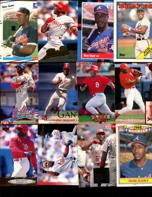 Ron Gant Lot Of 75 All Different Baseball Cards Reds Braves Victoria Texas