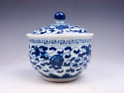Blue&White Porcelain Floral Patterns Painted Tea Cup w/ Lidded Cover #06231801