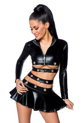 Sexy Wetlook Set Jacke + Rock Ketten Lederlook Gogo Erotik Schwarz XS S M L XL