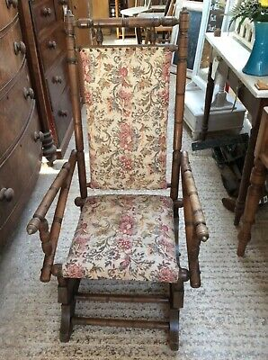 Astounding Reclaimed Old American Beech Upholstered Low Rocking Chair Machost Co Dining Chair Design Ideas Machostcouk