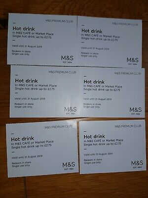 6 M&S Hot drinks vouchers worth £2.75 each (ie £16.50 in total)