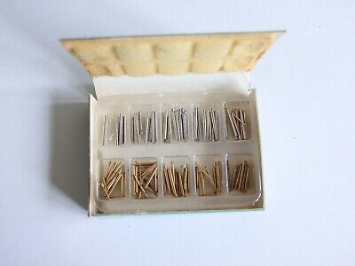 Box of assorted steel & brass 130 tapered clock pins for repairs, spare parts