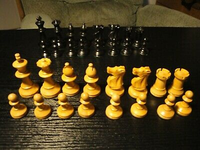 "32 Pieces  Wood Handcrafted Wooden Game Chess Carved 2.5"" FRANCE"