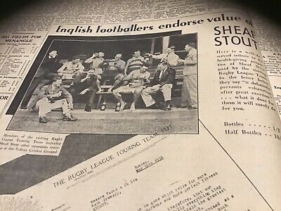 Rare old 1932 Tooths sheaf stout beer advert English rugby league team