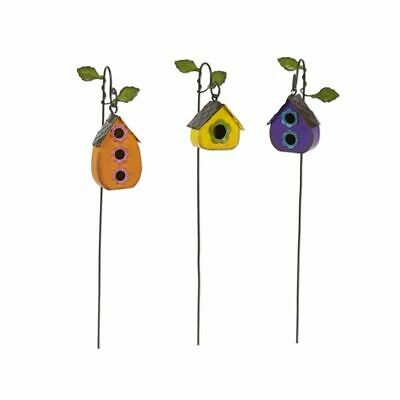 Miniature Fairy Garden Set of 3 Metal Hanging Birdhouse Picks - Buy 3 Save $5