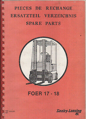 Saxby-Lansing FOER 17 / 18 Spare Parts Manual Used Condition. See listing info