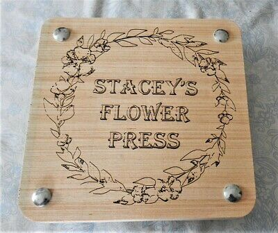Flower Press With Personalised Name Engraved On Front Wedding Christening Flower
