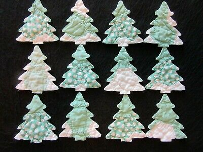 12 Vtg Cutter Quilt Green/White Christmas Trees  - Appliques!  - Crafts!