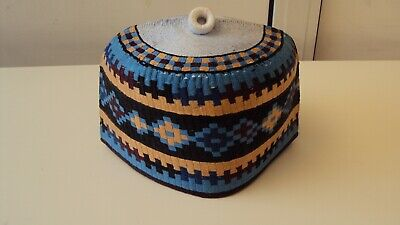 """African Nigerian Traditional Hausa Hand Woven Cap Blue, Beige & Black Multi 23"""""""