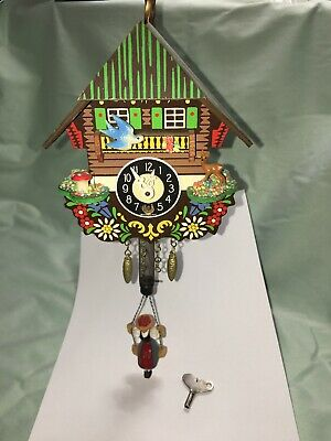 Vintage Miniature Cuckoo Clock w/ Girl on Swing Moving Blue Bird Wind-up Germany