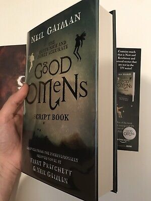 SIGNED Good Omens Script Book by Neil Gaiman with Bookmark, Badge and Good Icons