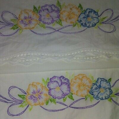 Pair of Vintage Embroidered & Crocheted Pansy Chain Pillowcases Scalloped Edge