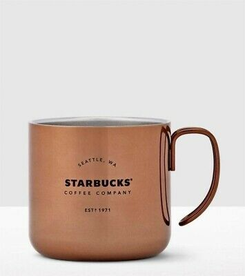 eabfab9d65f STARBUCKS COPPER SEATTLE Stainless Steel Coffee Mug Cup 12 oz Double Handle  2016