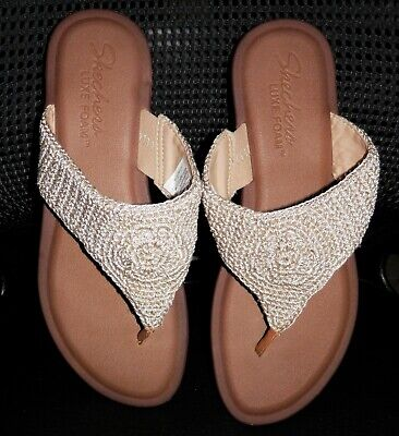 50489cf8a40eb WOMEN'S SKECHERS INDULGE 2 Beach Angel Thong Sandals Size 10 M - Natural