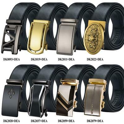 UK Designer Mens Leather Belts Automatic Buckles Black Ratchet Straps Waistband