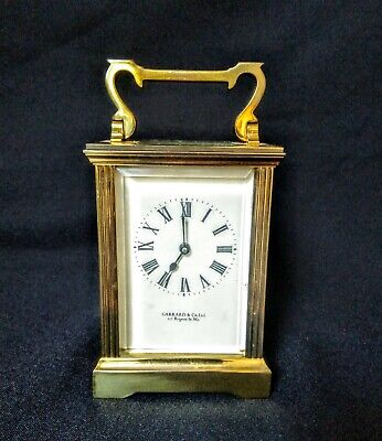 Vintage Garrard & Co London W1 Brass Carriage Mantel Clock original key