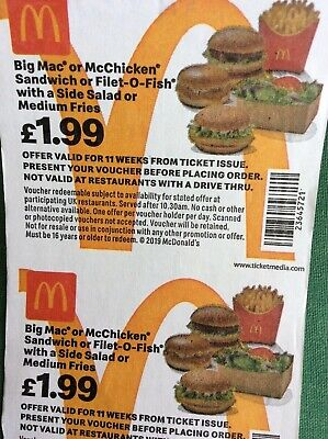 McDonalds Vouchers / Coupons x 30 - No Expiry Date