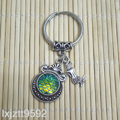 GREEN AB Mermaid keychain, bagcharm zipper bag charm Fish scales party favors#