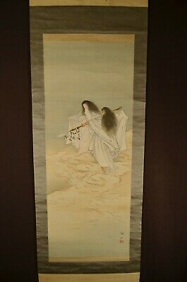 1916 SIGNED JAPANESE SCROLL / TWO GODS / Hand Painted on Silk w Storage Box