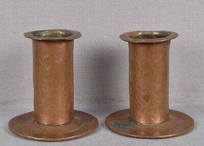 Pair Arts & Crafts HAMMERED COPPER CANDLESTICKS
