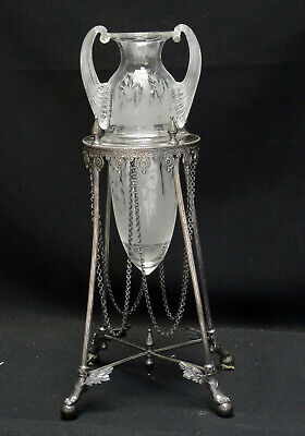 Art Nouveau Aesthetic Movement Etched Glass Silverplate Epergne Winged Foot Base