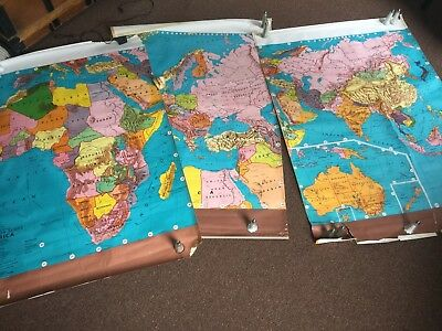Vintage Pull Down School Maps - set of three continents