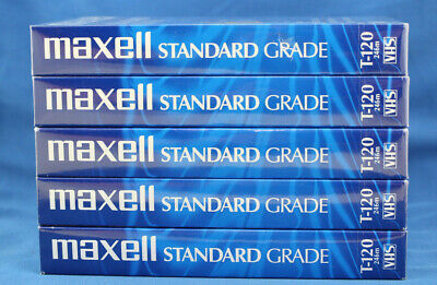 Lot of 5  Maxwell VHS T-120 6 Hour Standard Grade Blank VCR Tapes NEW & SEALED