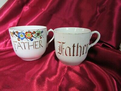 """2 Antique Japanese """"Father"""" Large Mugs Or Tea Cups Circa 1915 - 1920"""