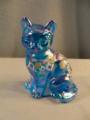 Fenton Hand Painted Blue Carnival Glass Cat Figurine Purple & White Flowers