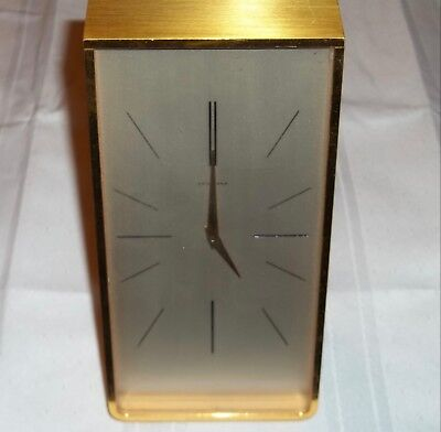 Vintage Juvenia Gold Tone Mantle Desk Nightstand Display Clock - Swiss Made Rare