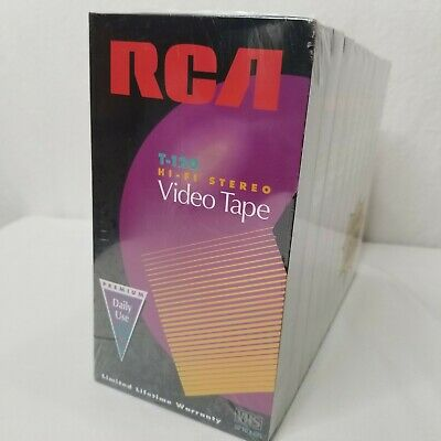 RCA VHS Tapes 10 Pack T-120 HiFi Premium 6 Hours Factory Sealed T120H10PKM