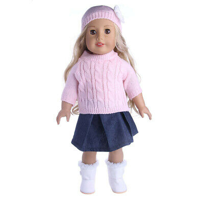 Hot Handmade 18 inch American Girl Doll Clothes Sweater + Skirt + Hat Set