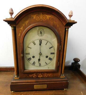 mahogany inlaid catherdrall gong bracket clock