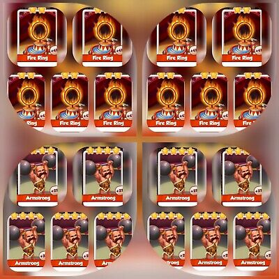 Coin Master cards Pack☆☆☆10x Fire Ring & 10x Armstrong ☆☆☆ Fastest Delivery