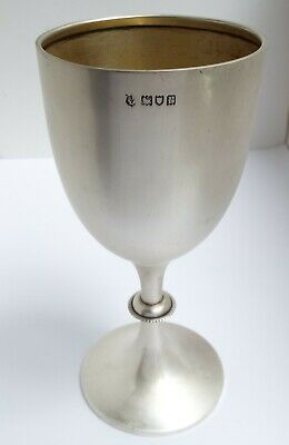Beautiful Condition Large Heavy English Antique 1916 Sterling Silver Wine Goblet