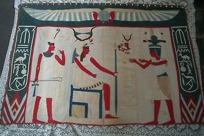 Antique Applique Textile Egyptian Hieroglyphics King Wall Hanging Hand Sewn Huge