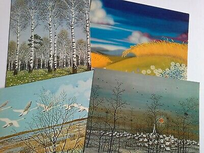 Vintage postcards paintings of scenery, various artists 1970s 4 cards