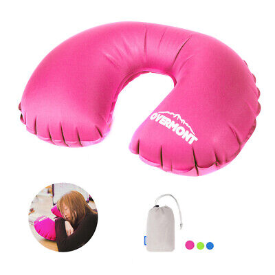 Inflatable Travel Pillow Head Neck Rest Cushion Support Camping / Aeroplane New