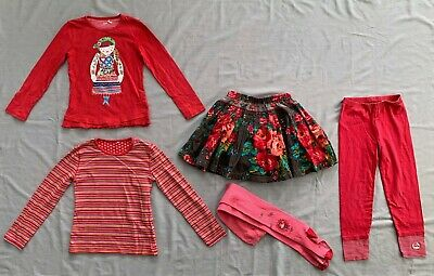 OILILY GIRLS TOP x2 FLORAL SKIRT STOCKINGS & LEGGINGS 5PC SET 7 - 8 yrs 122/ 128