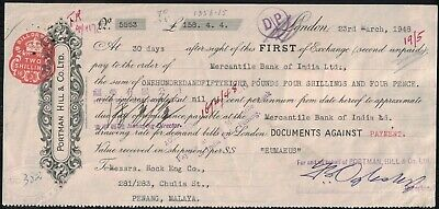Bma 1948 Bill Of Exchange Settled In Penang Nice Bma Fiscals On Reverse - Ab 134