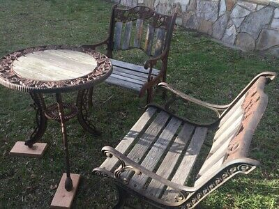 Vintage Cast Iron & Timber Outdoor Garden Table And 2 Chairs