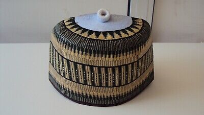 """African Nigerian Traditional Hausa Hand Woven Cap in Green & Beige  Multi 23"""""""