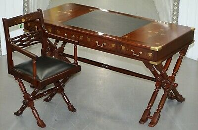 Vintage 1960'S Rosewood & Brass Inlaid Trestle Campaign Desk & Chair Office Set