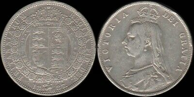 Great Britain: 1887 Queen Victoria Jubilee Head QV Silver Half Crown 2/6
