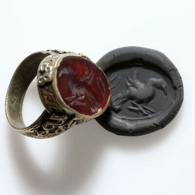 Circa 1200-1400 Ad Near East Intaglio Seal Ring Decorated-Silver Plated